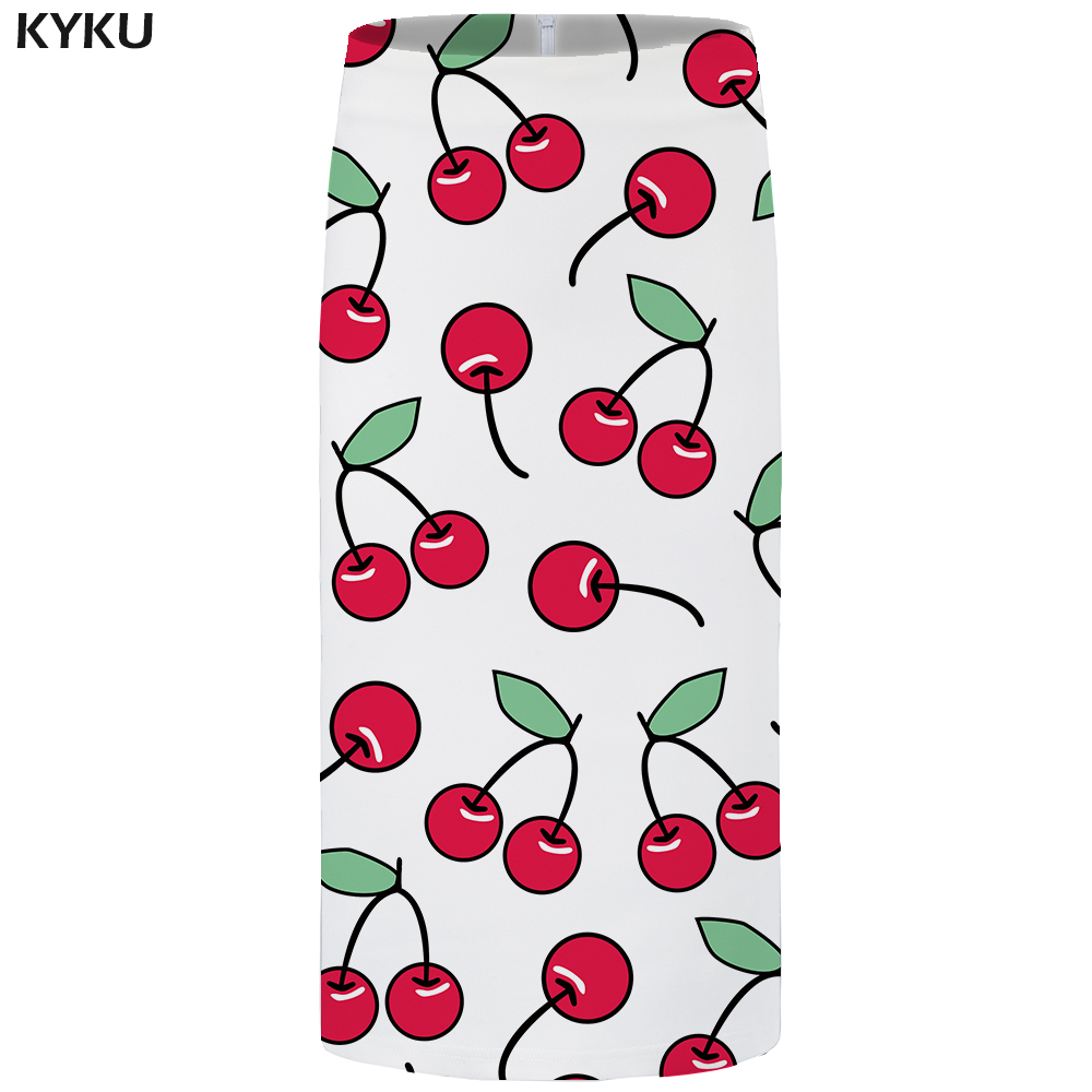 KYKU Brand Cherry <font><b>Skirts</b></font> Women Fruit <font><b>Sexy</b></font> Leaf <font><b>Plus</b></font> <font><b>Size</b></font> White Pencil Floral Party Ladies <font><b>Skirts</b></font> Womens Anime Knee Length New image