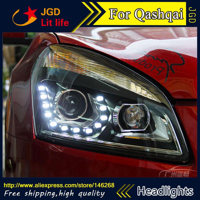 Free shipping ! Car styling LED HID Rio LED headlights Head Lamp case for Qashqai 2008-2013 Bi-Xenon Lens low beam