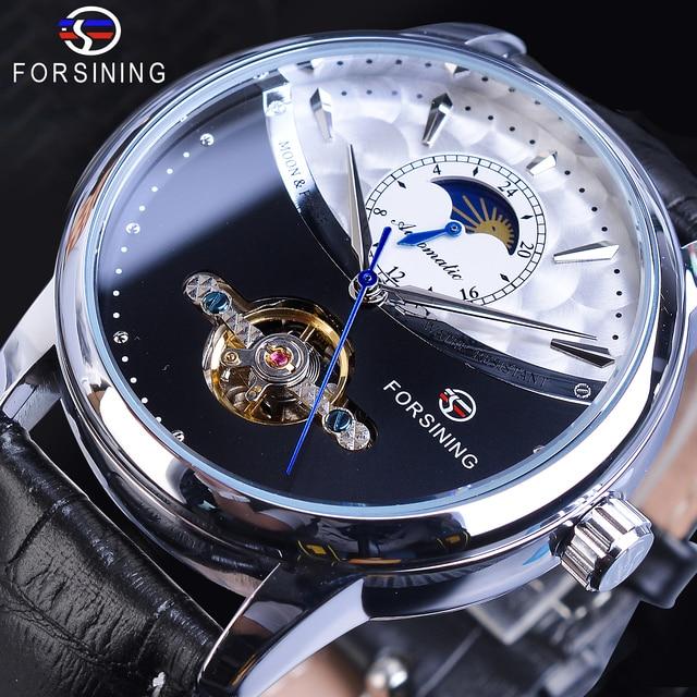 ساعة يد آلية من Forsining للرجال مزودة بشريط من الجلد الأسود الأصلي مع شاشة عرض على شكل قمر الشمس ساعة يد أنيقة للرجال