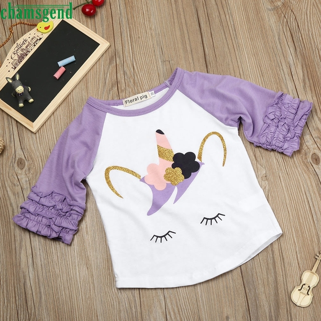 Fashion White Toddler Kids Baby Girls Splice Long Sleeve Blouse Tops