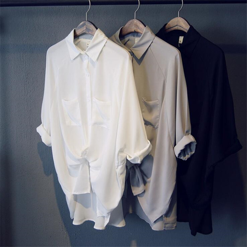 Boyfriend Style Casual Chiffon white Long Women   blouse     shirt   oversized Long sleeve loose   shirt   office wear casua tops blusas
