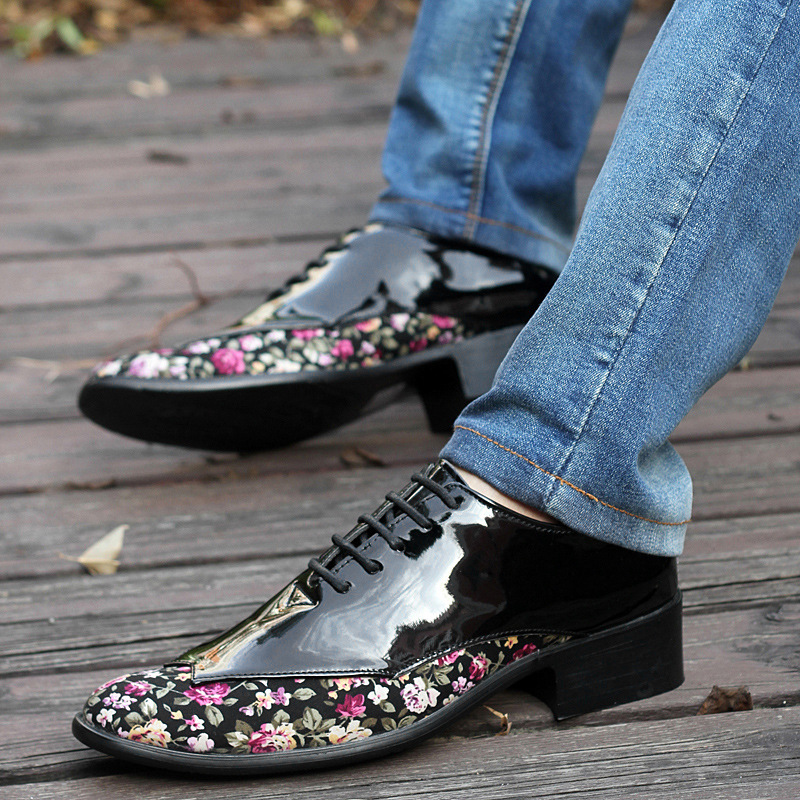 Up De En Brillant rouge 44 38 Chaussures Noir D'affaires Plat Chunky Pointu Lace Taille Bas vert Mariage Bout Oxfords Cuir Mens blanc OkiPXZu