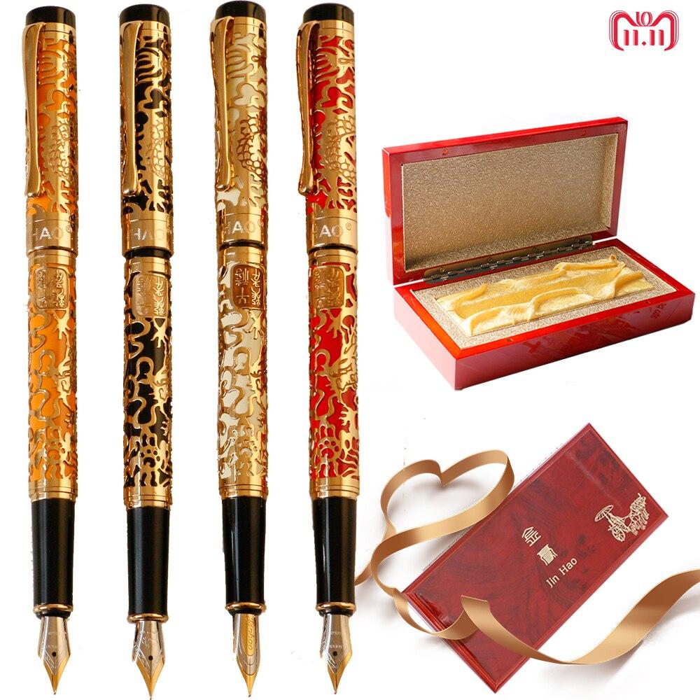 Роскошные Jinhao 5000 Металл Дракон перьевая ручка 18KGP 0,5 мм Перо Чернила ручки для написания офисные школьные принадлежности