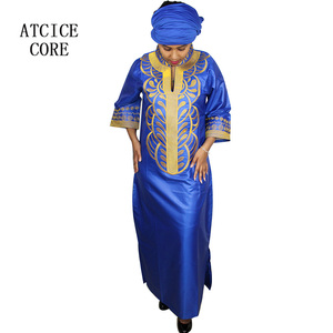 Image 2 - african bazin riche embroidery design dress only one dress LA066#