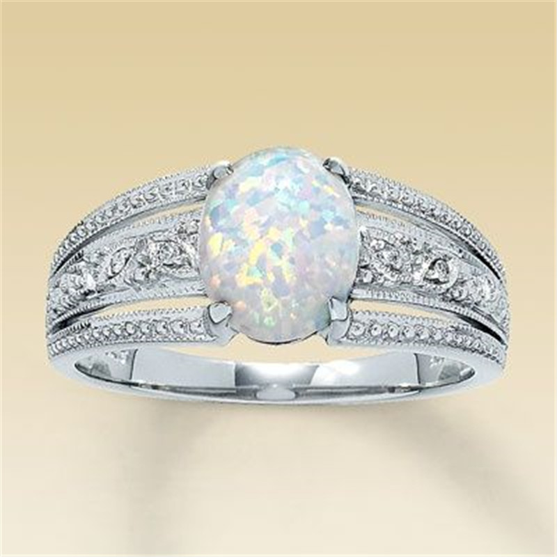New Stainless Steel Silver Oval Cut Australia White Opal
