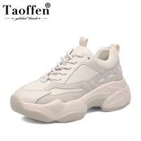 Taoffen Ins Women Sneakers Real Leather Mixed Color Thick Sole Casual Shoes Daily Outdoor Women Vulcanized Shoes Size 35 40