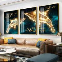 Di lusso Semplice pittura decorativa soggiorno trittico astratta Moderna della pittura di cristallo Nordic combinazione Balena pittura sogno