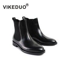 VIKEDUO 2019 Autumn New Ladies Ankle Boots Solid Black Women Chelsea Boot Genuine Calf Skin Handmade Shoes Mujer Botas Faminino