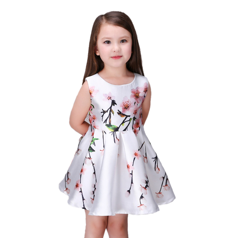 42eee9e8c0e6 Top Quality Summer Sleeveless Girls Dress For Party Flowers Print 3d ...