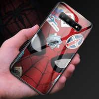 Marvel Человек-паук закаленное Стекло чехол для телефона для Samsung Galaxy S8 S9 S10 e 5G Plus Note 10 9 8 класса люкс с изображением Мстителей чехол Coque Funda