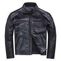 HARLEY DAMSON Black Men American Motorcycle Leather Jacket Plus Size XXXXL Genuine Thick Cowhide Spring Biker's Leather Coat