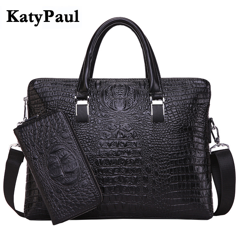 KatyPaul Brand Men's Casual Crocodile Pattern Briefcase Business Shoulder Bag Leather Messenger Bags Computer Laptop Handbag