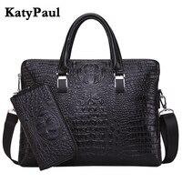 KatyPaul Brand Men S Casual Crocodile Pattern Briefcase Business Shoulder Bag Leather Messenger Bags Computer Laptop
