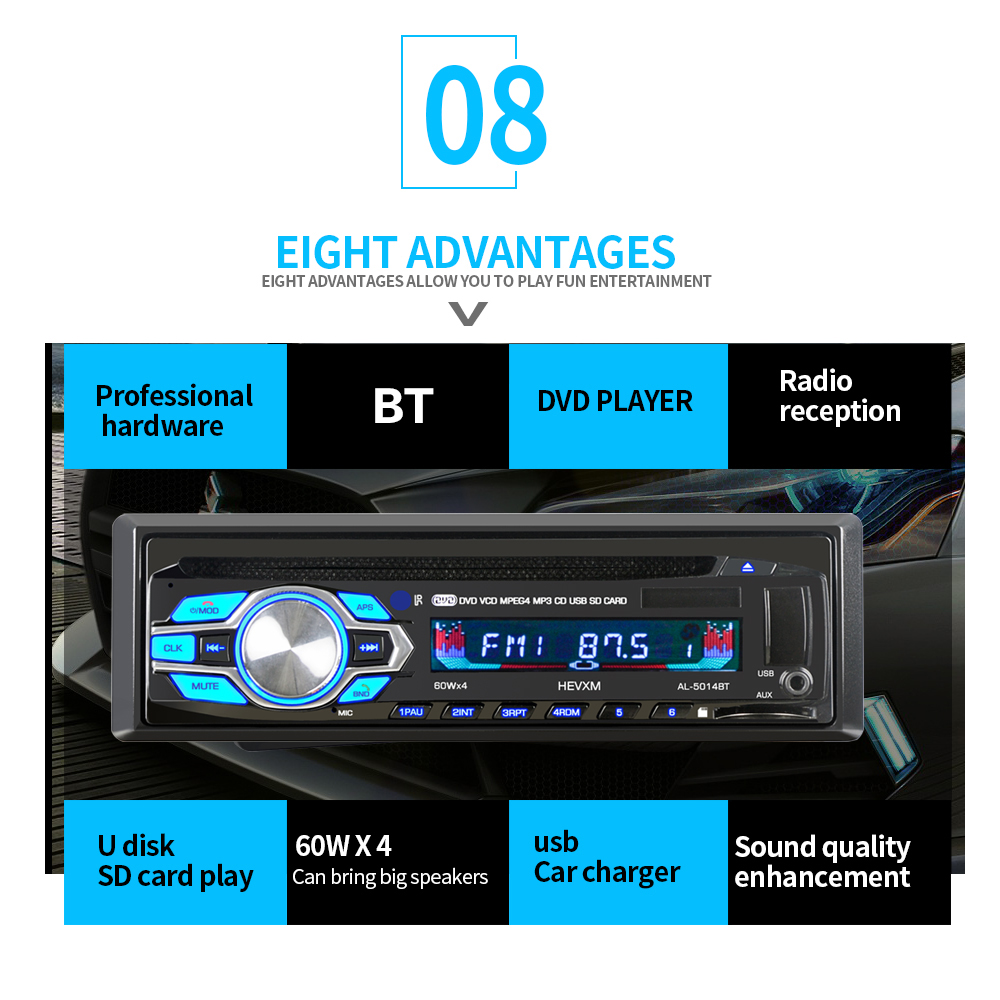 Autoradio Cassette Recorder Automagnitola 1 Din Car DVD CD Player MP3 Stereo Autoradio BT Audio 5014