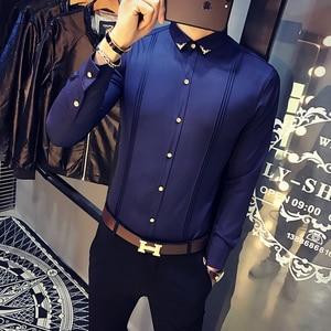 Image 4 - Camicia Bianca degli uomini A Pieghe Solid Slim Fit Camicia Da Smoking Maschile A Maniche Lunghe Inghilterra Stile Casual Sociale Prom Dress Shirt Per uomini