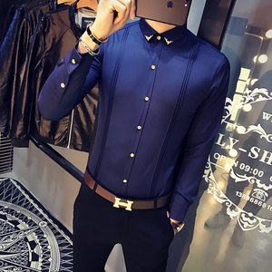 Image 4 - Mens White Shirt Pleated Solid Slim Fit Tuxedo Shirts Male Long Sleeve England Style Casual Social Prom Dress Shirt for Men