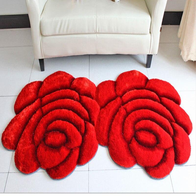 Nouveau tapis créatif en forme de fleur Europe 3D Double Rose tapis pour décorer salon chambre délicate tapis doux personnel - 2