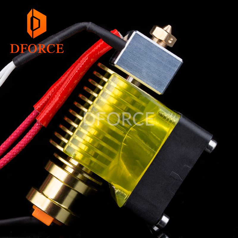 V6 gold HeatSink v6 hotend 12V/24V remote Bowen J-head and cooling fan bracket for E3D HOTEND for PT100 titan extruder V6 nozzle