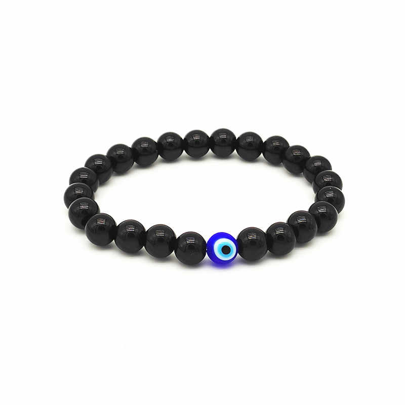 Moda 8mm Turkish Evil Eyes pulsera negro piedra cuentas obsidiana hombres Braslet para hombre Yoga mano accesorios de joyería