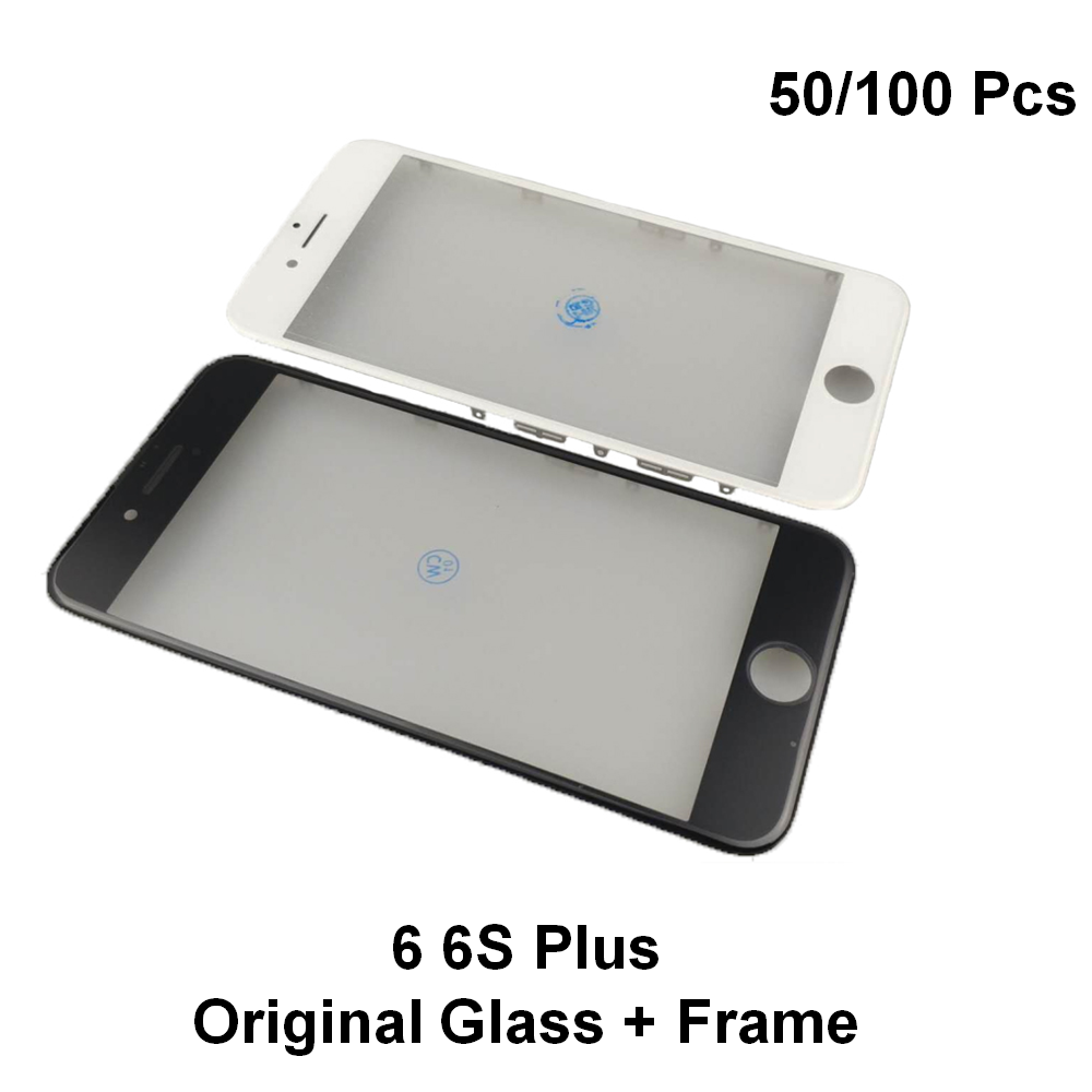 50/100pcs OEM Original 2in1 Cold Press Glass with Bezel Frame with Ear Mesh For iPhone 6S 6S Plus Replacement