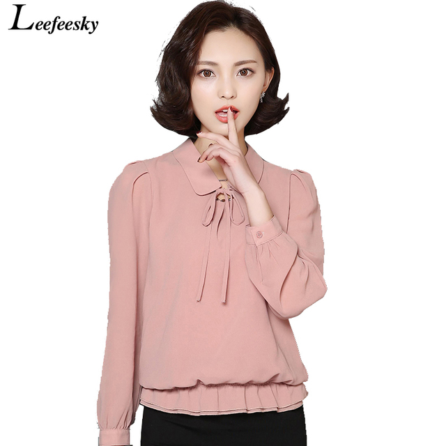 Women Tops And Blouses 2016 New Fashion Long Sleeve Elegant Chiffon Blouse Peter Pan Collar Casual Plus Size Ladies Clothing
