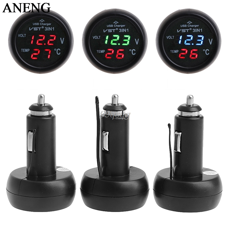 3in1 Auto Digital LED Thermometer USB Car Charger Cigarette Voltmeter Meter 12V/24V Drop shipping iztoss 3 in 1 digital car 12v 24v temperature meter voltmeter cigarette lighter car voltmeter thermometer auto car usb charger