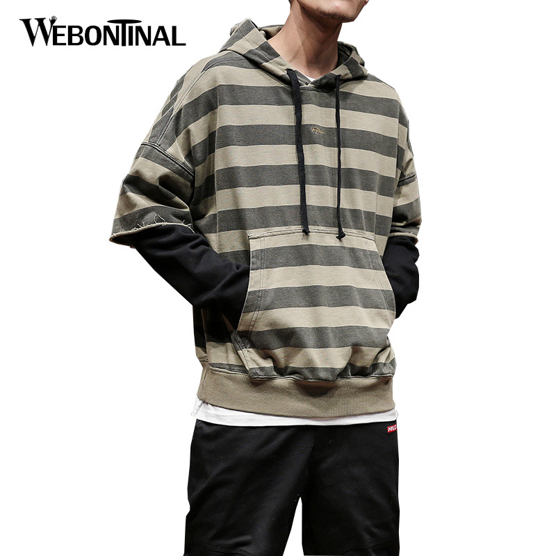 Autumn Winter Hoodie Male Hip Hop Sweatshirt Men Hoodies moleton masculino Mens Hooded Pullover Tracksuit Striped Print W18139