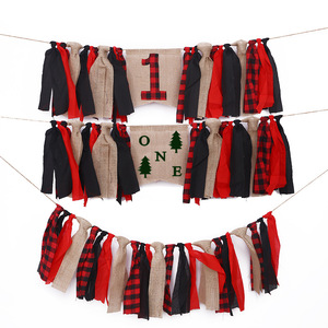 Red Plaid Lumberjack Party Banners Decorations ONE First Birthday Chair Flags Decors Supplies Cloth Banner Diy Party Accessories