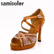 Samisoler Women Party Dance Shoes Satin Shining rhinestones Soft Bottom Latin Dance Shoes Woman Salsa Dance Shoes heel5CM-10CM