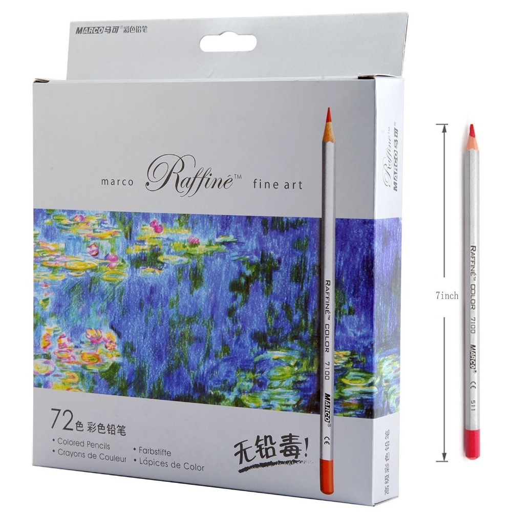 Marco painting color pencils 24/36/48/72 colors High quality drawing painting colors pencils artist supplies sketch faber castell fashion colored pencils artist painting oily color pencil set for student drawing 36 48 72 colors free shipping