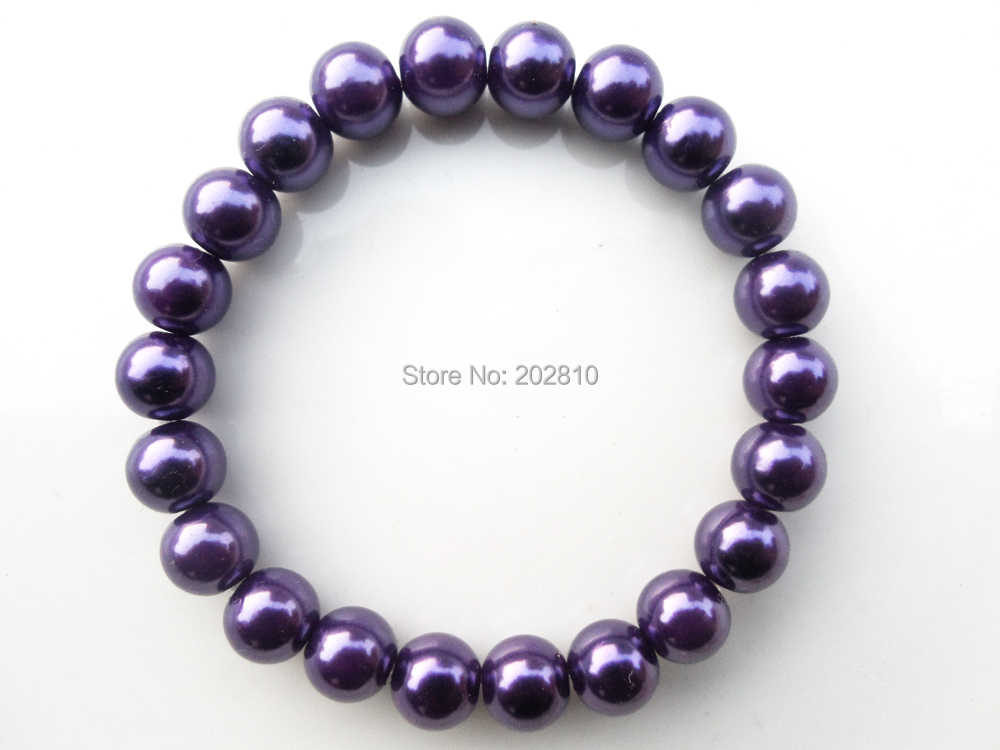 {Moda 8mm purpurowe perły bransoletka dla kobiet, fioletowy bransoletka przyjaźń biżuteria, wysokiej jakości fioletowy koraliki stojak bransoletki