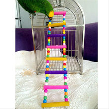 Bird Swing Wooden Bridge Ladder Climb Cockatiel Parakeet Budgie Parrot Toys brinquedos para cachorro Colorful Parrot Toys Home(China)