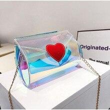 Luxury Handbags Women Bags Designer  Plastic Shoulderbag Transparent Peach Heart Bag Fairy Chain Jelly for 2019