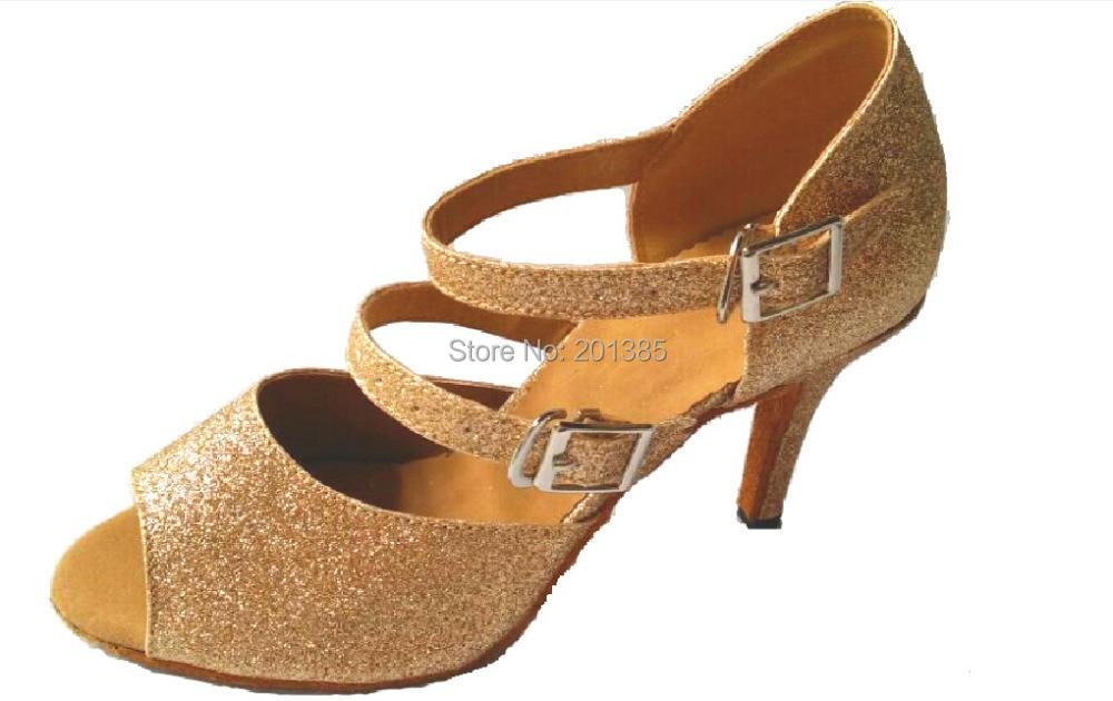 New Women Gold Glitter Salsa Ballroom Tango Dance Shoes Latin Dance Dancing Shoes Bachata Dance Shoes ALL Size