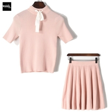 2017 New Autumn Striped Casual Dress Fashion Sweet Bow Lace up Top + Skirt Suit Knitted Sweater Vestidos Two Piece Women's Set