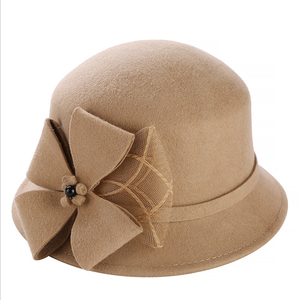 Image 2 - Винтажная Стильная осенне зимняя 100% шерстяная фетровая шляпа для женщин с цветами, верхняя шляпа для девушек, Женская флоппи Кепка с бантиком
