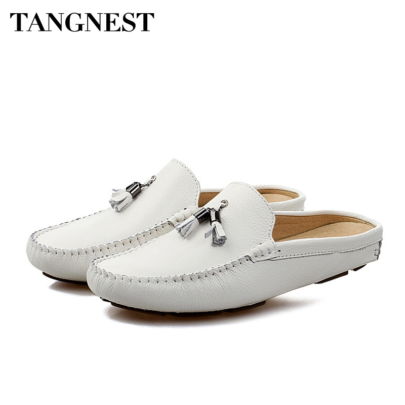 Tangnest Summer Men Genuine Leather Loafers Breathable Flat Shoes Lazy Men Fringe Slippers Outdoor Comfort Casual Shoes XMR2840