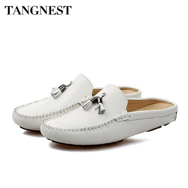 Tangnest verano hombres mocasines de cuero genuino transpirable zapatos planos perezoso hombres franja zapatillas al aire libre zapatos casuales comodidad XMR2840