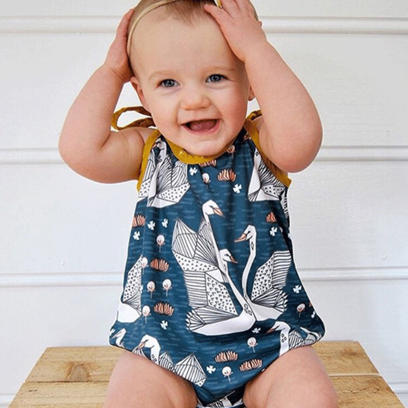 Hot Sale Toddler Bodysuit Cartoon Swan Print Bandages Blue Yellow Bodysuit Sleeveless Baby Girls Clothes 2018 Summer Onesie Baby