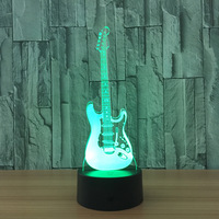 Guitar Night Light 3D Lamp LED 7 Color Change Led USB Remote Touch Switch Indoor Atmosphere