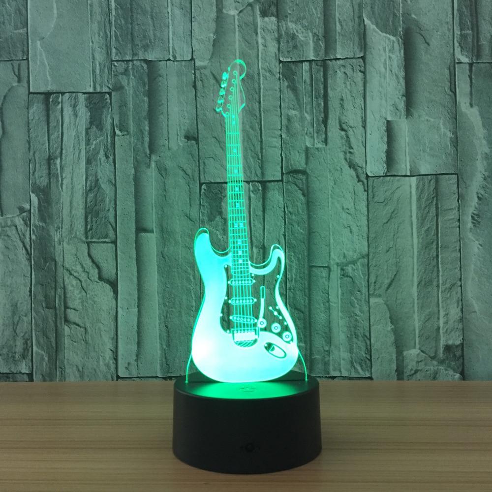 3D Led Visual Colorful USB Table Lamp Lampara Baby Sleeping Night Light Creative Fashion Music Electric Guitar Lamp Decor Gifts creative cartoon 3d electric music