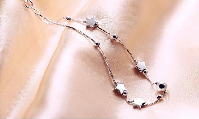 46dc6702cd7 Women Ankle Chain Bracelet Fashion Jewelry Genuine 925 Sterling Silver  Chain Link Plain Silver Star Anklet Bracelet Cute Gift