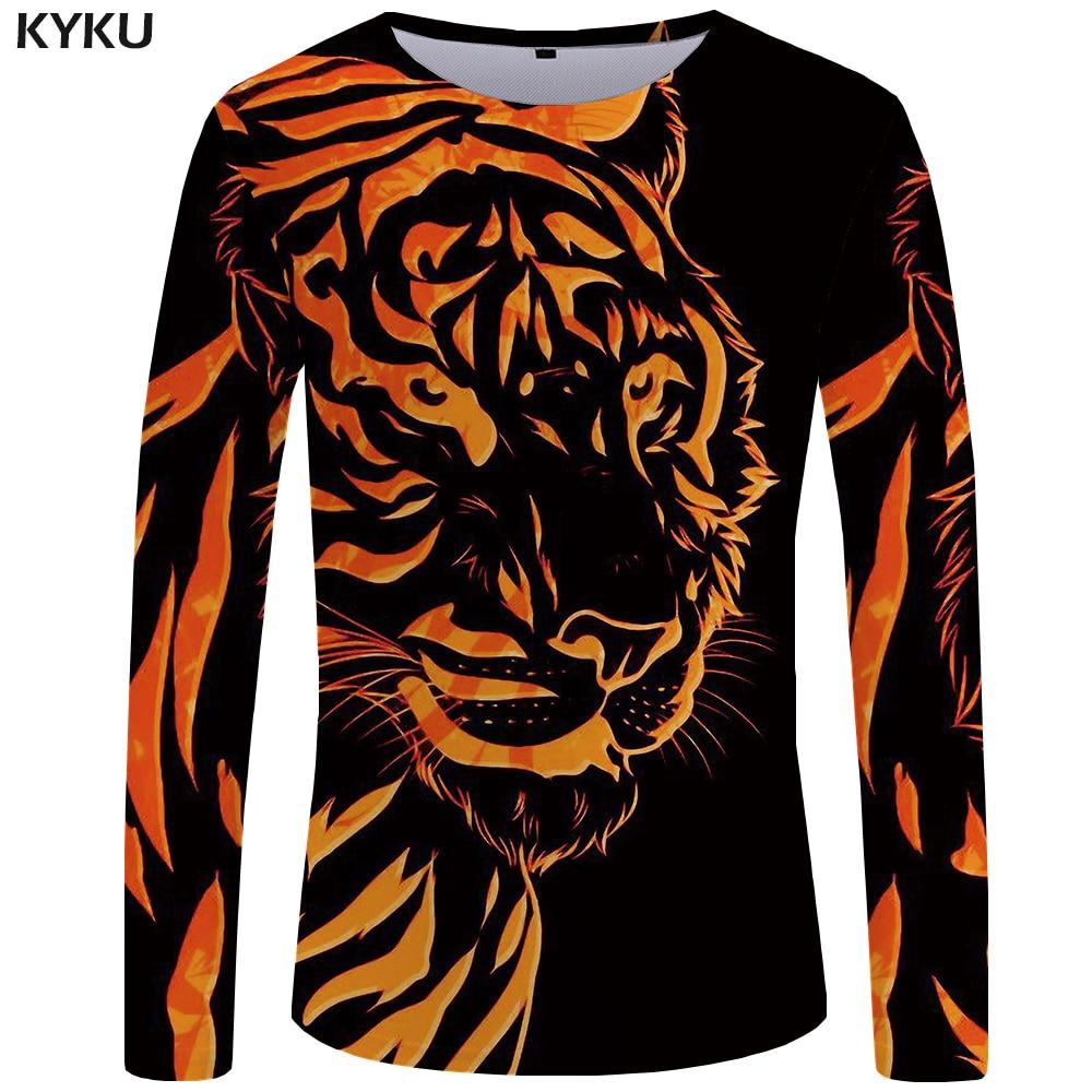 KYKU Tiger T Shirt Men Long Sleeve Shirt Flame Japan Animal Cool Print Punk Funny T Shirts Rock Mens Clothing Short Sleeve