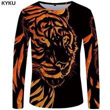 купить KYKU Tiger T shirt Men Long sleeve shirt Flame Japan Animal Cool Print Punk Funny T shirts Rock Mens Clothing Short Sleeve дешево