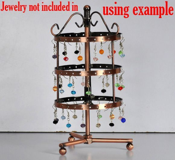 DoreenBeads Retail Round Earrings 72-Hole Revolving Jewelry Display Stand Holder 11x11x25cm,sold per pack of 1