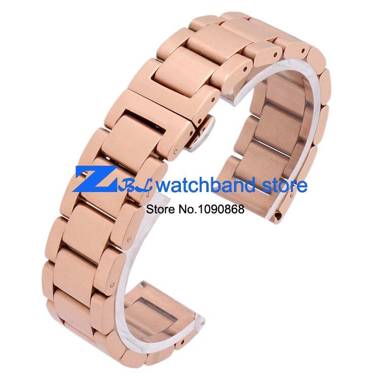 Paslanmaz çelik Kordonlu Saat Saatı bant metal kayış kelebek toka - Saat Aksesuarları - Fotoğraf 3