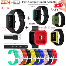 Soft Silicone Watch Band For Xiaomi Huami Amazfit Bip Pace Youth colorful  protective frame case cover with film
