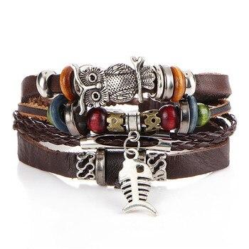 Vintage Multilayer Leather Bracelet for Men Bracelets Jewelry Men Jewelry New Arrivals Metal Color: BJDY183