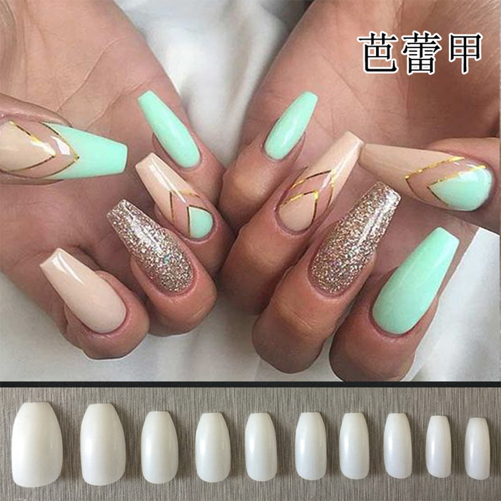 500pcs Long Nature Coffin Shaped False Nails Ballerina Half Nail ...
