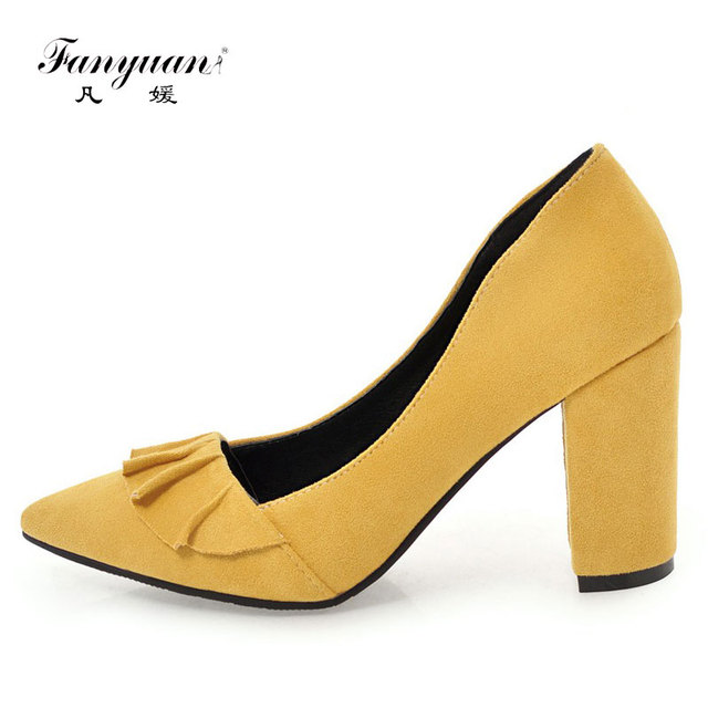 68c763776c2 Fanyuan Flock Pump Women Shoes Sexy Pointed Toe Super Thick High Heels  Female Slip On Shallow Ruffles Pumps Office Party Shoes-in Women's Pumps  from ...